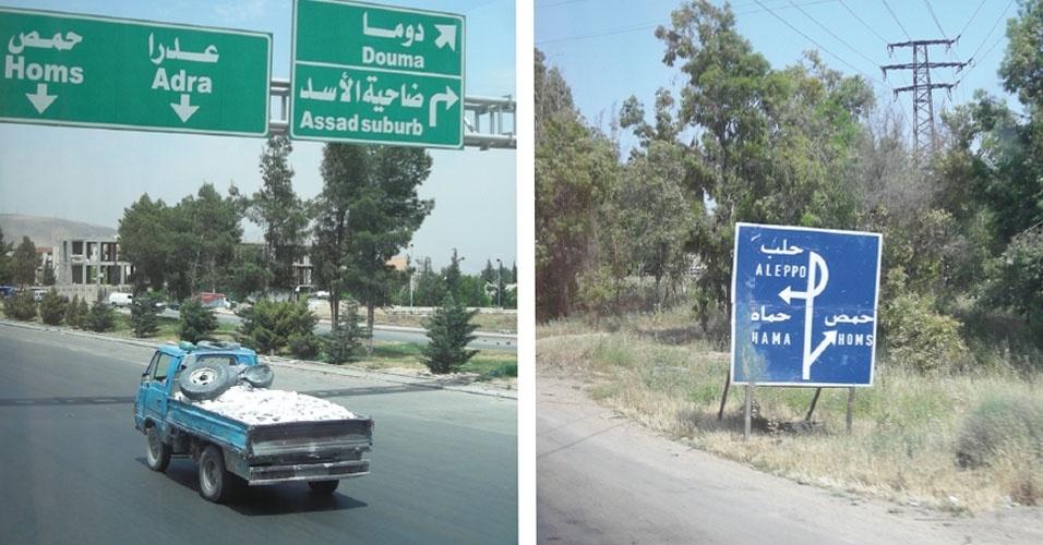 13.nov.2012 - Placas (à esq.) sinalizam o caminho para Homs, na Síria, e saídas para outras principais cidades no país, como Hana e Aleppo