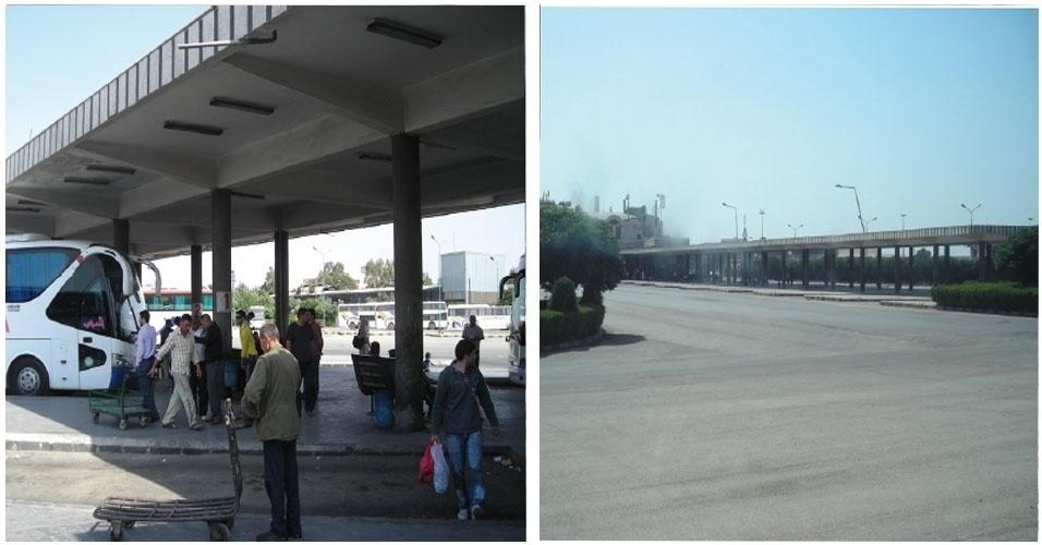 13.nov.2012 - Rodoviária de Homs, na Síria, quase vazia, após o acirramento dos conflitos na região. O único ônibus a chegar à estação era o que levava Klester Cavalcanti para Homs