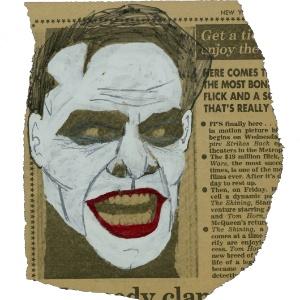 Anúncio do New York Post sobre o qual Michael Uslan pintou o rosto de Jack Nicholson com as cores do Coringa quase dez anos antes de o ator fazer o filme de Tim Burton. O desenho vai a leilão em um site dedicado aos quadrinhos e cultura pop. (13/11/2012) - AP/Reprodução