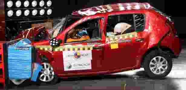 Crash test do Sandero: na versão básica, sem airbags (nem como opcional), carro é considerado inseguro  - Latin NCAP/Divulgação