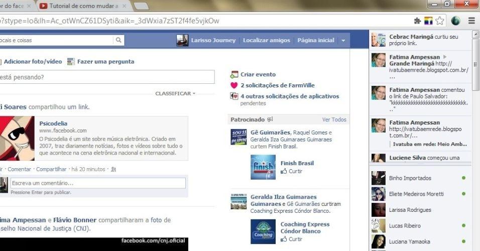 Entre em seu Facebook e atualize-o apertando o botão F5 do seu teclado. Você verá que o mesmo ícone aparecerá quando a página for atualizada.