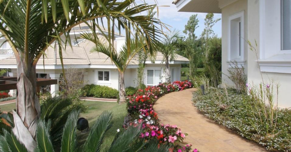 O colorido das flores dá um toque contemporâneo a este espaço do jardim, além de servir como forração às tropicais palmeiras ambientadas pelo paisagista Marcelo Novaes