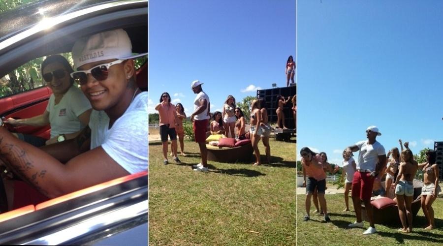 """Léo Santana gravou nesta terça-feira participação no clipe da canção """"Alô Vó Tô Estourado"""", banda Forró Safado, em uma praia de Recife (13/11/12)"""