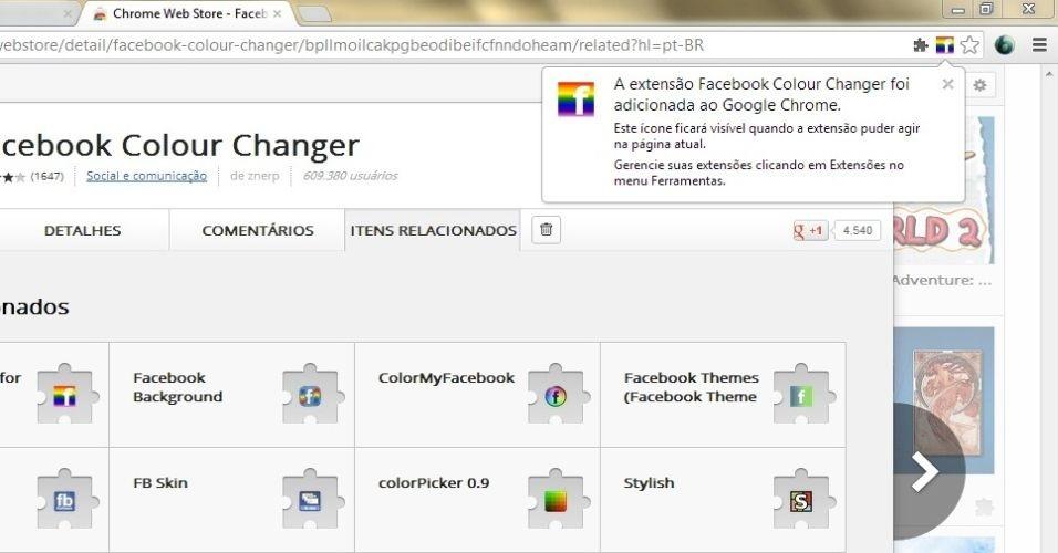 Pronto, a extensão foi adicionada. Você verá que o ícone do Facebook aparecerá na barra do navegador, só que agora ele está colorido