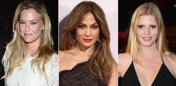 """Bar Rafeli, Jennifer Lopez e Lara Stone exibem pontas e comprimento sombreados, técnica conhecida por """"New Ombré Hair"""" - Getty Images"""