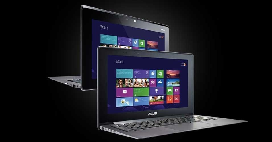 14.nov.2012 -- A fabricante de eletrônicos Asus apresentou seu computador Taichi, com tela de 11,6 polegadas, que funciona dos dois lados (