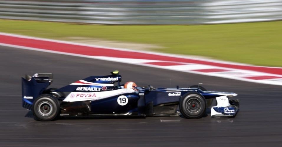 Bruno Senna, piloto brasileiro da Williams, participa dos treinos livres desta sexta-feira para o GP dos Estados Unidos, no domingo
