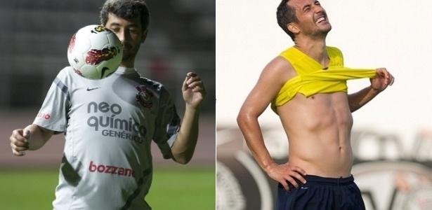 Imagens de Douglas em julho e em novembro de 2012: 6kg a menos - Montagem com fotos de Daniel Augusto Jr./Divulgação Corinthians