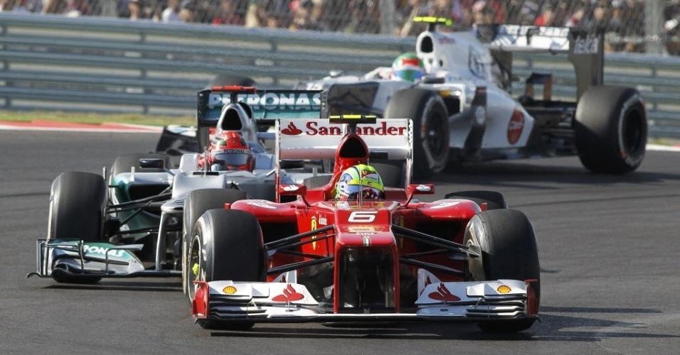 Felipe Massa largou em 11º, mas ganhou posições na pista e chegou em 4º no GP dos EUA