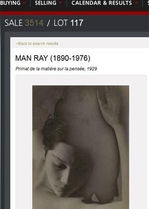 """Fotografia de Man Ray, """"A primazia da matéria sobre o pensamento"""" - Reprodução/Christie""""s"""