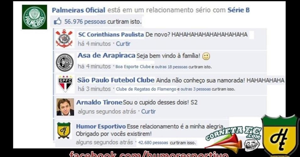 No Facebook, Palmeiras inicia relacionamento com a Série B