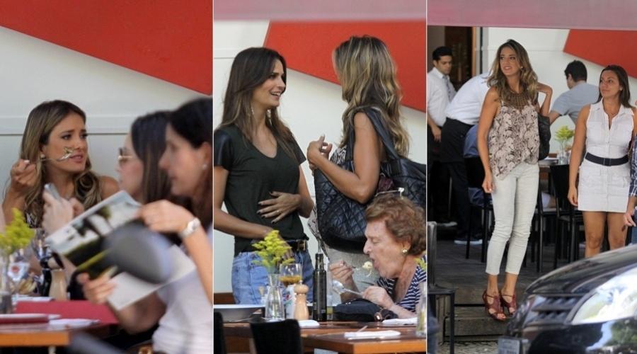 A apresentadora Ticiane Pinheiro e a modelo Fernanda Motta almoçaram em um restaurante no bairro do Leblon, zona sul do Rio (19/11/12)