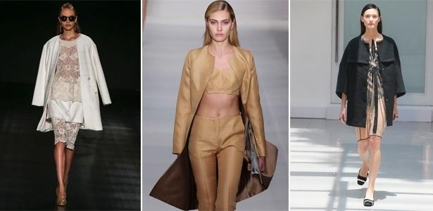 A Têca, Vitorino Campos e Gloria Coelho mostraram casacos com cortes secos, sem lapela e sem gola - Alexandre Schneider/UOL