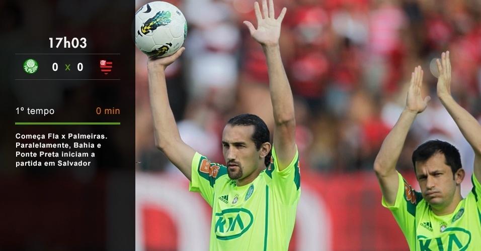 17h03 - Começa Fla x Palmeiras. Paralelamente, Bahia e Ponte Preta iniciam a partida em Salvador