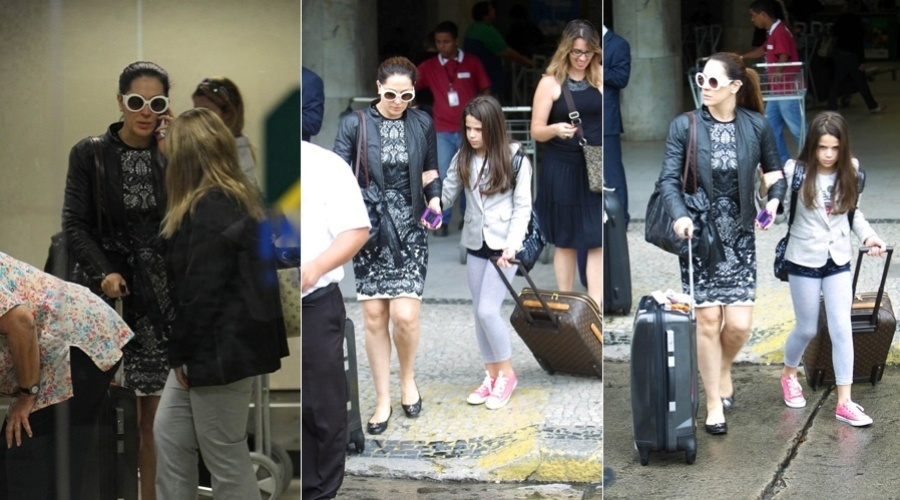 Claudia Raia desembarcou no aeroporto Santos Dumont, centro do Rio (20/11/12). A atriz estava acompanhada da filha Sofia. Ela é mãe também de Enzo