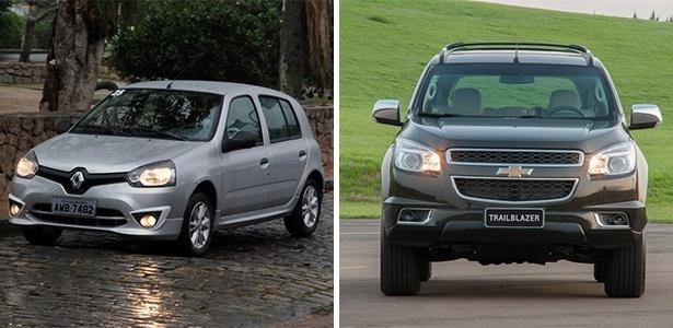 Renault Clio e Chevrolet Trailblazer: um é econômico e barato, o outro é o mais caro feito no Brasil - Murilo Góes/UOL e Divulgação