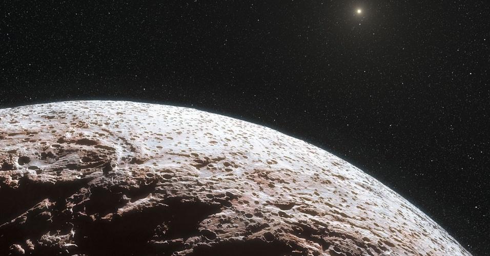 21.nov.2012 - Estudo revela que o planeta-anão Makemake, um dos mais distantes do nosso Sistema Solar, não possui uma atmosfera significativa - até então, a comunidade científica pensava que ela existia e era parecida com a de Plutão. Como ele não tem luas ou outros satélites em sua órbita, ficava difícil para os astrônomos deduzirem a massa e outros dados da sua composição