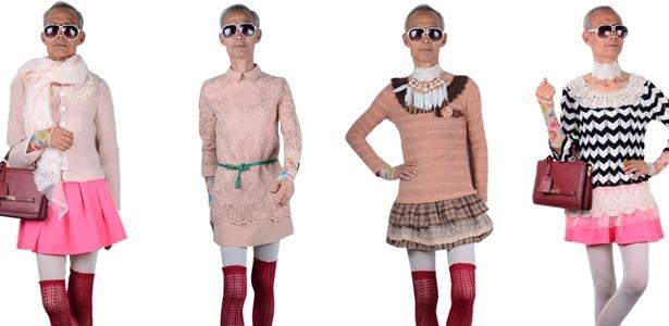 O chinês Liu Xianping, de 72 anos de idade, é o modelo das roupas ultra femininas da marca da neta - Divulgação