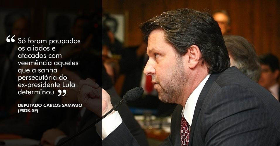 """22.nov.2012 - """"Só foram poupados os aliados e atacados com veemência aqueles que a sanha persecutória do ex-presidente Lula determinou"""", disse o deputado Carlos Sampaio (PSDB-SP) sobre o relatório da comissão"""