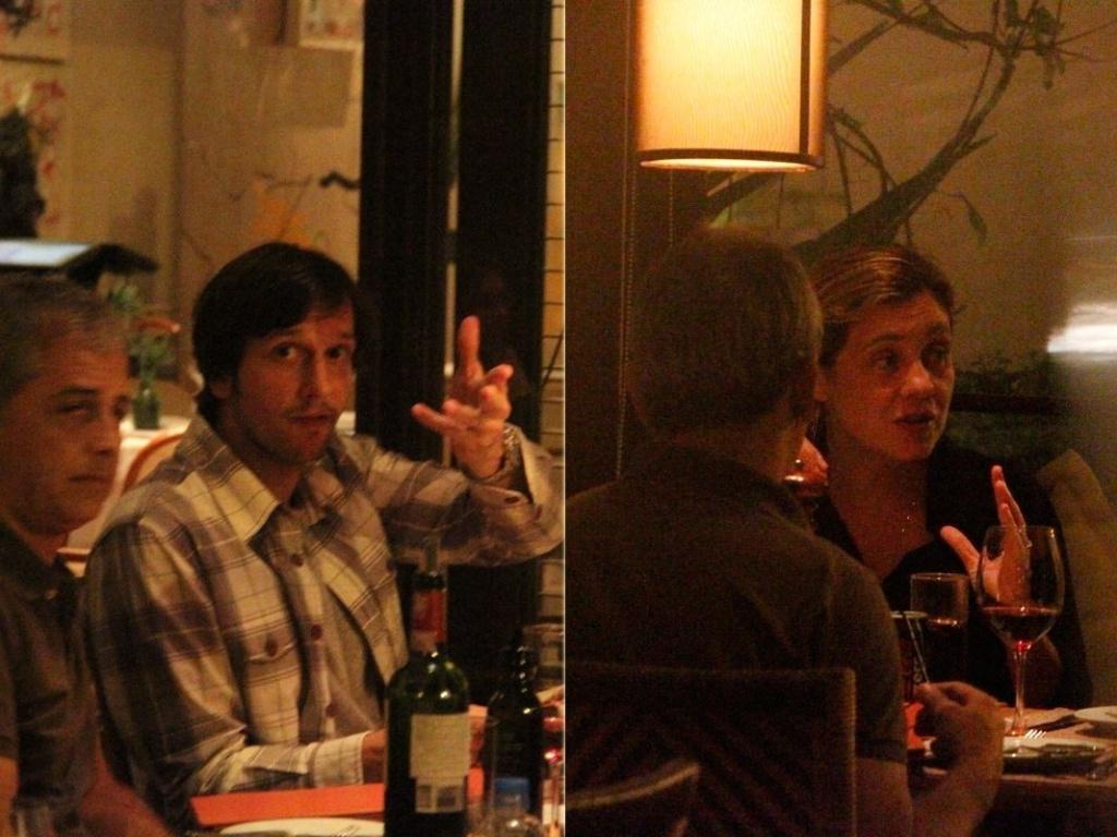 Adriana Esteves e Vladimir Brichta jantam com amigos em restaurante na Barra da Tijuca, Rio de Janeiro (21/11/12)