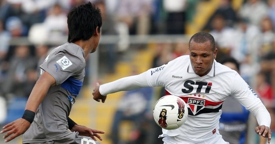 22.nov.2012-Luis Fabiano tenta o domínio da bola durante jogo contra o Universidad Católica pela Sul-Americana