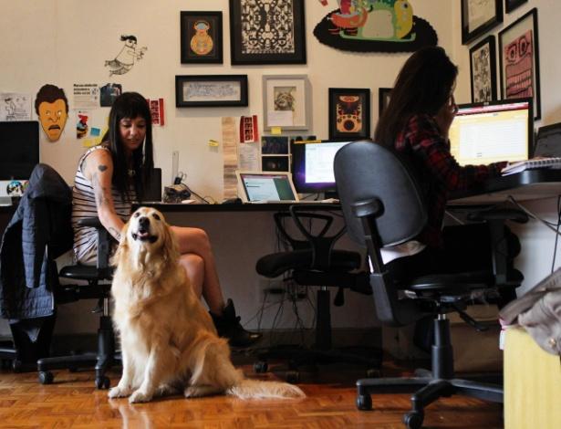 Vanessa Queiroz e a golden retriver Bumi no Estúdio Colletivo; até os clientes se derretem pelos animais - Fernando Donasci/UOL