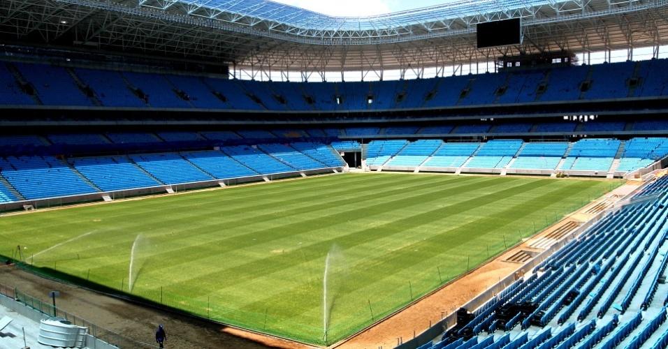 Vista interna da Arena do Grêmio, que será inaugurada no dia 8 de dezembro