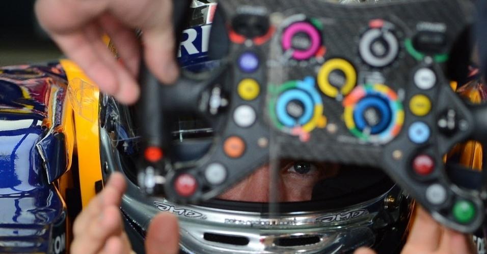 Sebastian Vettel recebe volante de seu carro durante treino para o GP do Brasil (24/11/2012)