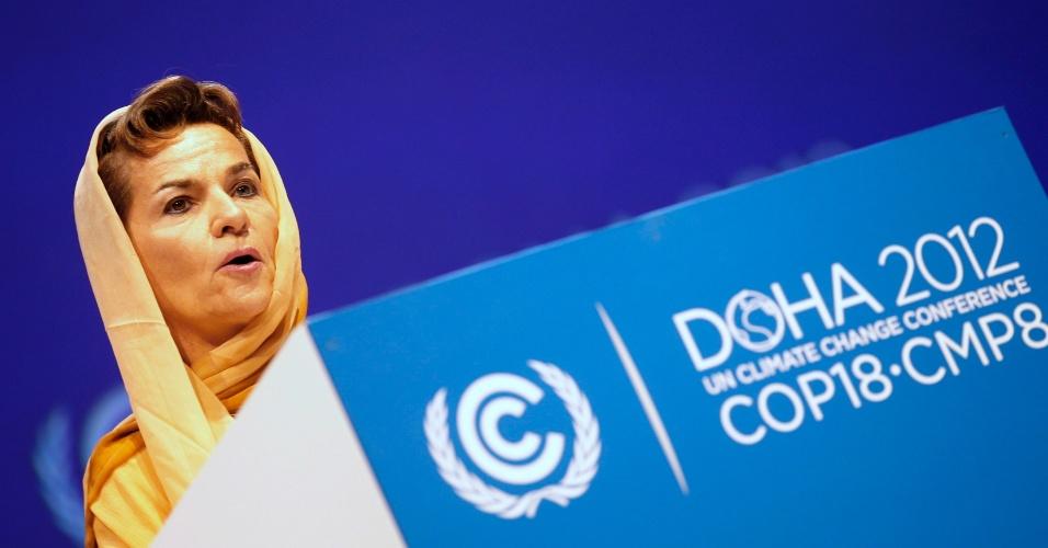 """26.nov.2012 - A secretária-geral da Convenção Marco das Nações Unidas sobre Mudança Climática, Christiana Figueres, destacou que a reunião servirá para marcar o final do primeiro período de compromisso de Kyoto, chamando para uma """"urgente resposta contra a mudança climática"""". Na sua opinião, Doha """"apresenta o desafio único de olhar em direção ao presente e ao futuro"""""""