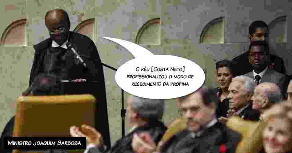 """26.nov.2012 - """"O réu [Costa Neto] profissionalizou o modo de recebimento da propina"""", afirmou o ministro Joaquim Barbosa - Antonio Araújo/UOL"""