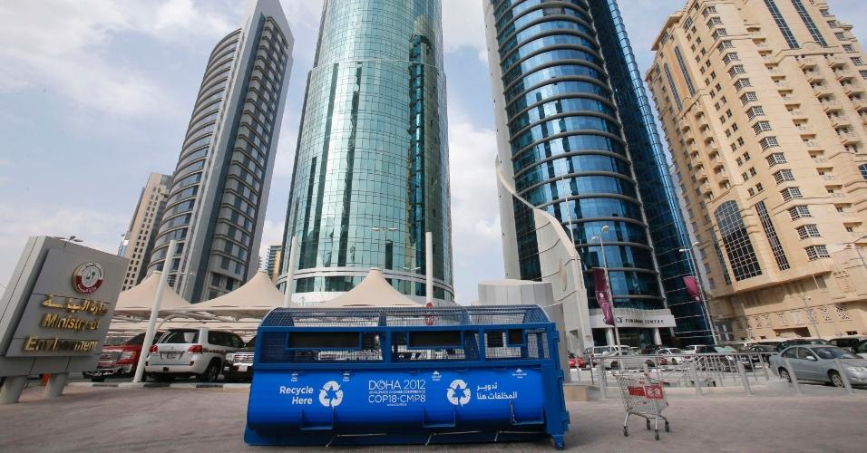 27.nov.2012 - Vista do prédio do Ministério do Meio Ambiente em Doha, nesta terça-feira (27). A capital do Catar é sede da COP 18, conferência anual da ONU (Organização das Nações Unidas) sobre o clima