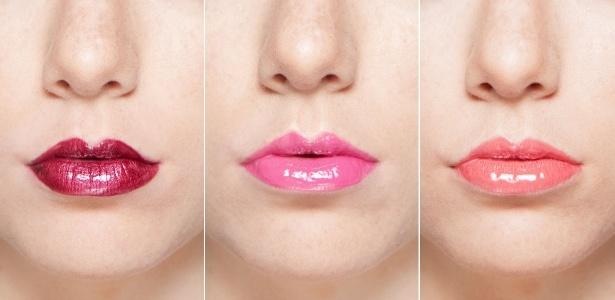 O gloss com cor intensa valoriza os lábios com o efeito espelhado - Montagem/Patricia Araujo/UOL