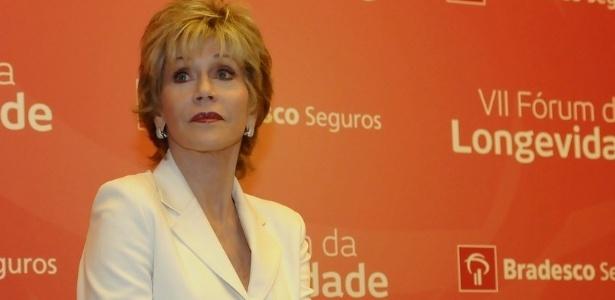 """Jane Fonda está no Brasil para lançar o livro """"O Melhor Momento - Aproveitando ao máximo toda a sua vida"""" (Editora Paralela). Nesta terça, a atriz participou do Fórum da Longevidade Bradesco Seguros  (27.nov.2012) - Francisco Cepeda/AgNews"""