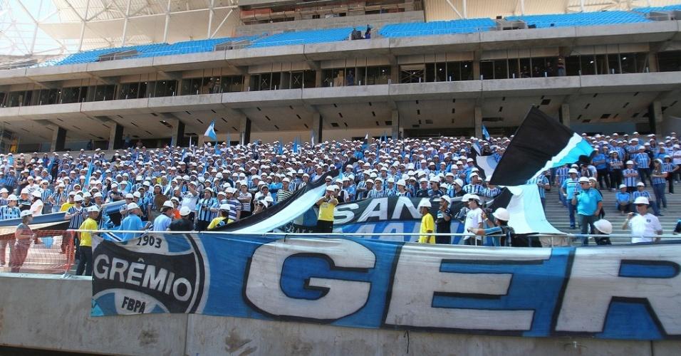 Local destinado a torcida Geral do Grêmio e avalanche na nova Arena gremista em Porto Alegre (14/10/2012)