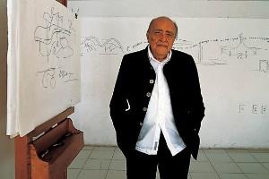 Oscar Niemeyer com seu cavalete