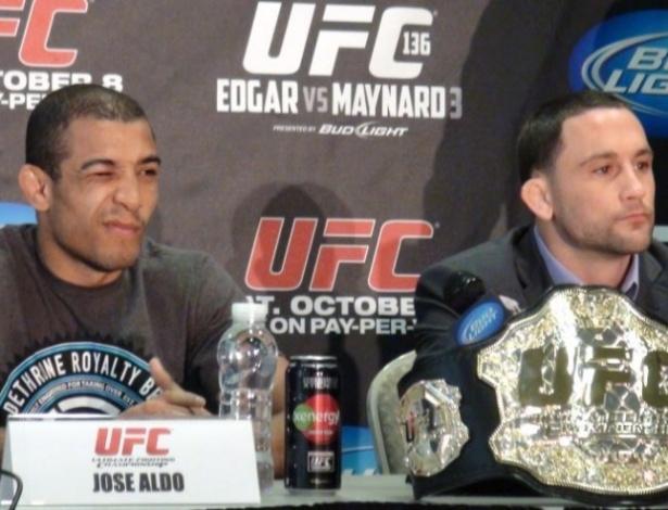 José Aldo e Frankie Edgar participam de coletiva do UFC, antes da edição 136, em Houston (EUA)