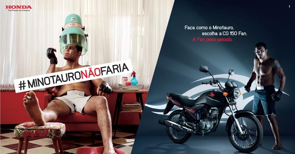 Minotauro posa em salão de beleza para campanha publicitária