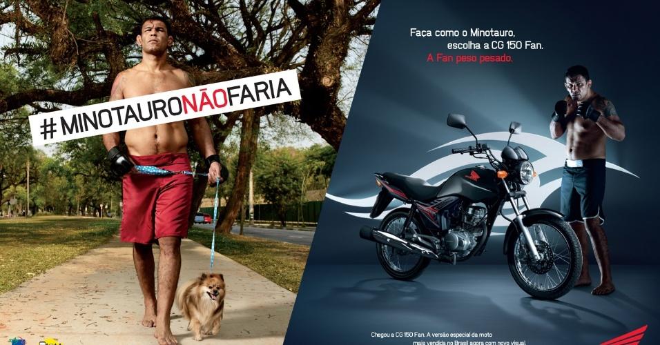 Minotauro posa para campanha de marca de motos