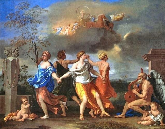 """O prazer, de um modo geral, é exaltado por Epicuro, que o considera essencial para a felicidade. Por isso, o filósofo é considerado o fundador do hedonismo, doutrina que põe o prazer em primeiro lugar. Mas, na Carta a Meneceu, onde trata do tema, Epicuro deixa claro que não se refere """"aos prazeres dos dissolutos e dos crápulas"""". O quadro de Nicolas Poussin ilustra uma cena de dança grega, celebrando os prazeres terrenos"""