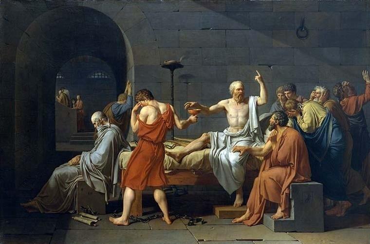 """Para Sócrates, sofrer uma injustiça era melhor que praticá-la e o homem feliz era essencialmente um justo. Por isso mesmo, ele recebe com tranquilidade a sentença do tribunal que o condenou à morte. No quadro, uma obra-prima de Jacques-Louis David, o filósofo recebe a taça com o veneno, enquanto consola seus discípulos. As reflexões de Sócrates sobre justiça e felicidade encontram-se especialmente no diálogo """"Górgias"""", de Platão, seu mais célebre aluno"""
