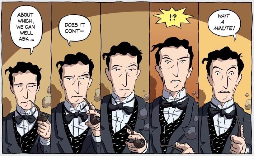 """Retratado aqui numa imagem da história em quadrinhos """"Logicomix"""", sobre sua vida e obra, o filósofo inglês Bertrand Russell trouxe de volta a felicidade ao âmbito da reflexão filosófica. Em """"A Conquista da Felicidade"""", ele põe em ação o método da investigação lógica para descobrir o que pode fazer alguém feliz. Em síntese, ele conclui que é preciso deixar de lado o egocentrismo e abrir-se para o maior número de interesses e de relações, tanto com as coisas quanto com outras pessoas"""
