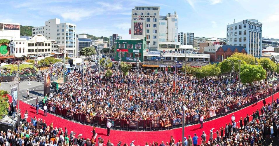 Vista do tapete vermelho da pré-estreia de