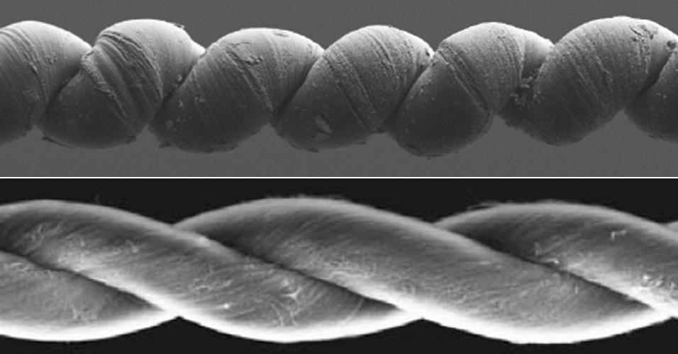 30.nov.2012 - Cinco pesquisadores do Brasil ajudaram a desenvolver um músculo artificial que é 85 vezes mais forte do que o humano. Ao ser torcido, ele forma uma estrutura de uma hélice e se contrai por completo a uma velocidade de 25 milionésimos de segundo, o que lhe permite suportar objetos atados com peso cem mil vezes maior do que o dele - em contração, ele desenvolve uma potência de 27,9 kW/kg. Similar a um fio de lã, o material é formado por fibras compostas por feixes de nanotubos de carbono, que são leves, condutores e dezenas de vezes mais resistentes do que o aço