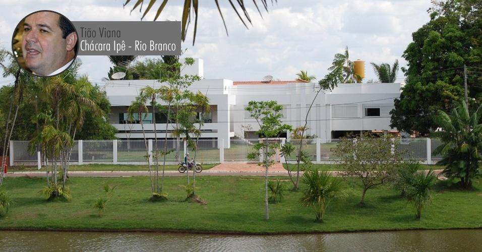 Casa do governador do Acre, Tião Viana (PT-AC), na Chácara Ipê, em Rio Branco. À Receita Federal, Viana declarou que o imóvel vale R$ 297 mil (o valor informado à Receita não está corrigido, por isso é inferior ao valor comercial atual)
