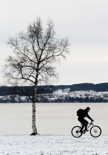 30.nov.2012 - Homem anda de bicicleta no lago Storsjon, na cidade de Ostersund (Suécia)