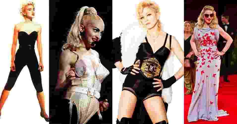 Madonna foi ícone de estilo nos anos 1980 e 1990, com roupas fetichistas e cabelo platinado que ditaram moda de uma geração. A cantora passou por diversas transformações de moda até que hoje, aos 54 anos, mostra um estilo mais comportado e tradicional. Veja os melhores momentos de seus looks a seguir - Reprodução e Getty Images