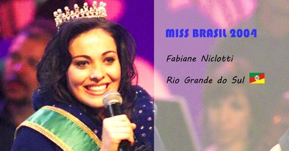Miss Brasil 2004, Fabiane Niclotti, do Rio Grande do Sul
