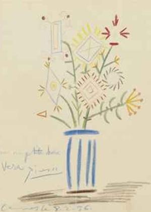 Obra Buquê de Flores, de Pablo Picasso, faz parte da coleção do cineasta Henri-Georges Clouzot e é avaliada em mais de US$38 mil - Reprodução