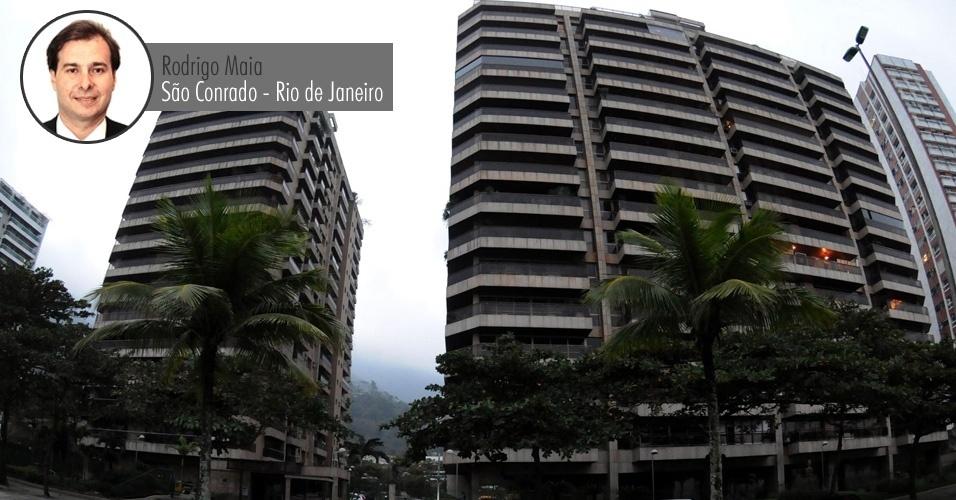 Prédio em frente à praia de São Conrado, área nobre na zona sul do Rio de Janeiro, onde o deputado federal Rodrigo Maia (DEM-RJ) possui um apartamento. À Receita Federal, o parlamentar declarou que o imóvel vale R$ 304 mil (o valor informado à Receita não está corrigido, por isso é inferior ao valor comercial atual)