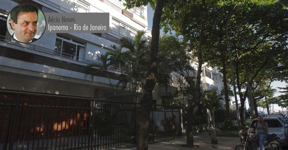 Prédio em Ipanema, bairro de alto padrão na zona sul do Rio, onde o senador Aécio Neves (PSDB-MG) possui um apartamento. À Receita Federal, Aécio declarou que o imóvel vale R$ 109 mil (o valor informado à Receita não está corrigido, por isso é inferior ao valor comercial atual)